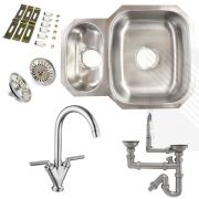 Premium Undermount Stainless Steel Kitchen Sink | Reversible 1.5 Bowl | Dual Lever Kitchen Tap Pack with Pipework